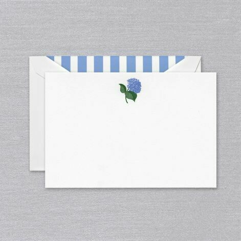 White Engraved Blue Hydrangea Card Set