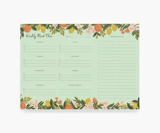Citrus Floral Meal Planner Notepad
