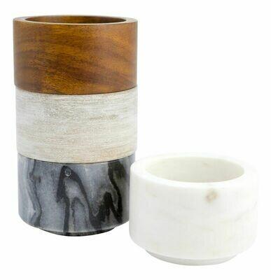 Marble & Wood Mini Bowls Set