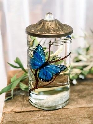 Blue Butterfly Small Cylinder Lifetime Candle