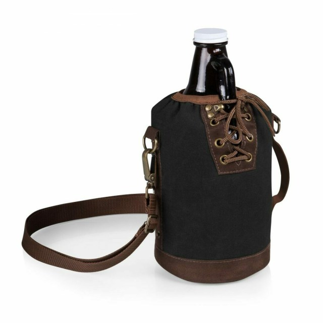 Black 64 Oz. Glass Growler Insulated Tote