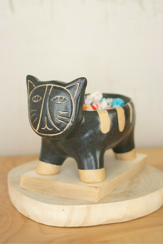 Black & Natural Ceramic Dog Planter