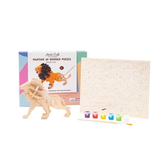 3D Lion Puzzle with Paint Kit
