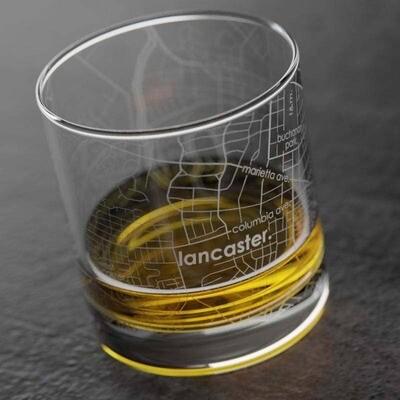 Lancaster PA Map Rocks Glass