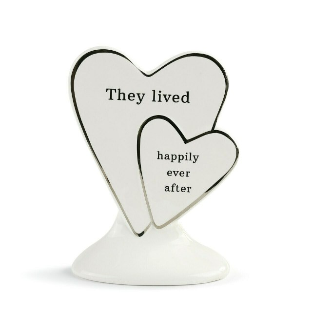 Happily Ever After Ceramic Heart Cake Topper