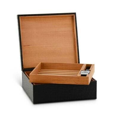 Black Leather Cigar Box Humidor Set