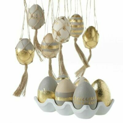 Gold Patterned Eggs Set/6