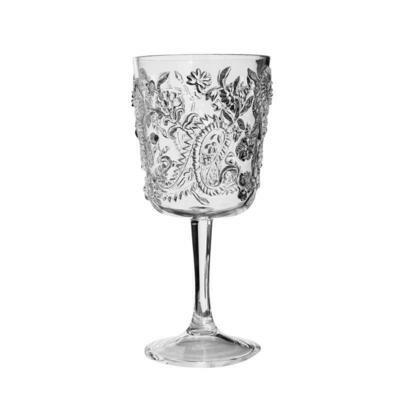 Paisley Clear Acrylic Goblet Glass