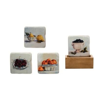 Resin Fruit Coasters Set of 5