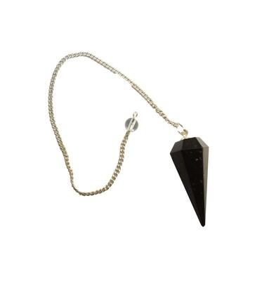 6-Sided Black Agate Pendulum