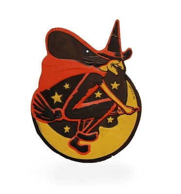 1930s Beistle HE Luhrs Embossed Halloween Flying Witch Die-Cut