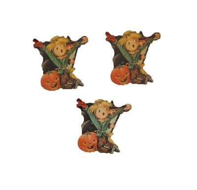 Vintage Set of 3 Miniature Scarecrow and Witch Die-cuts