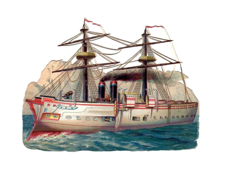 Edwardian Sailboat Ship Die-cut