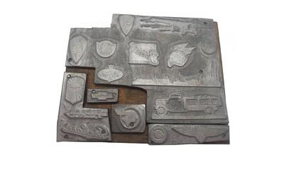 Un-cut transportation plate (17 logos w/wood) Printing Block