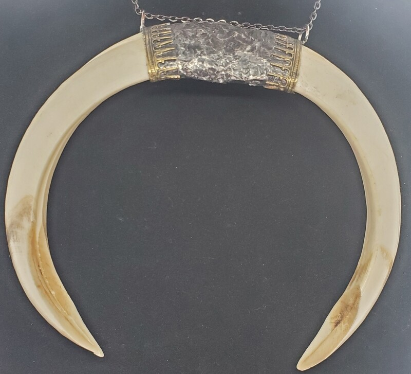 Large Double Tusk Ritual Gothic Necklace