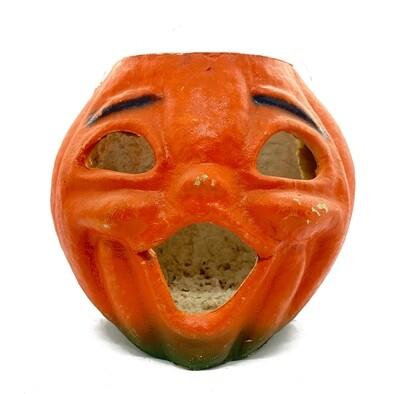 1940s Singing Pumpkin Pulp Paper Mache Jack O Lantern