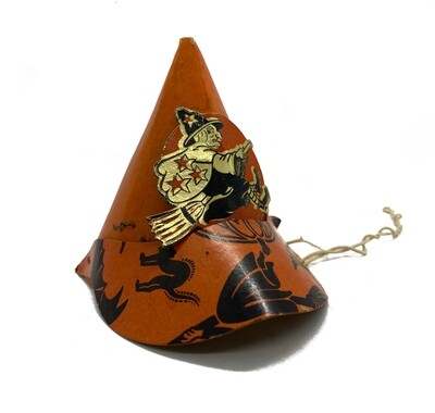 Vintage Halloween Witch Party Hat with Brim