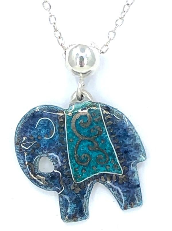 Indian Elephant Pendant - Silver And Grey Blue Enamel