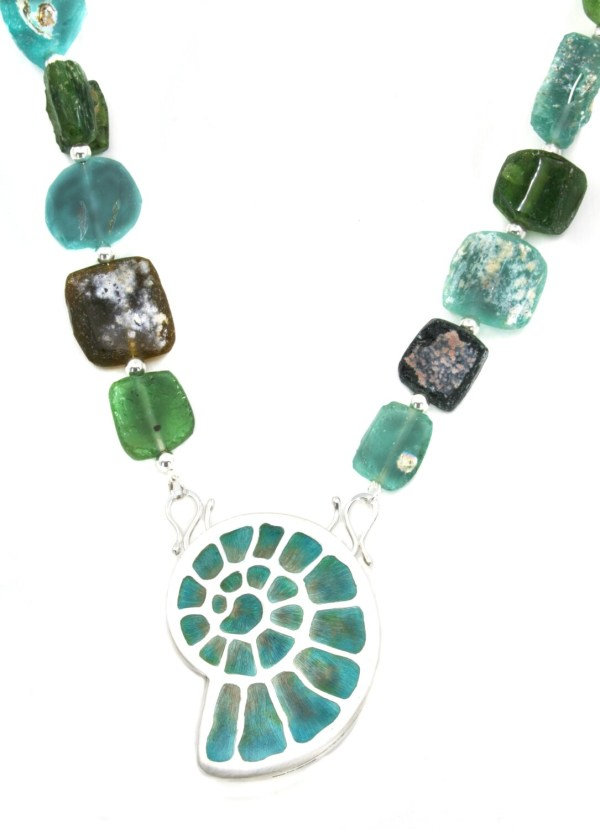 Ammonite Enamel Fossil Pendant with Roman Glass Beads