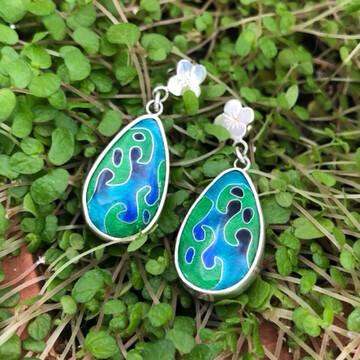 Botanical Gardens silver and cloisonne enamel earrings