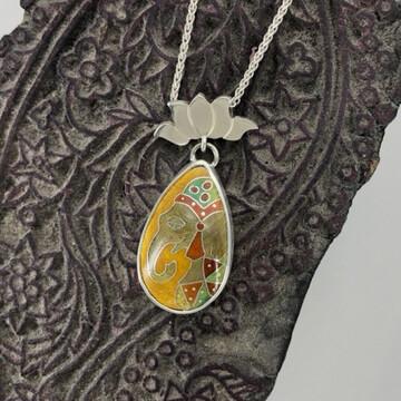 Rajah Elephant silver and Cloisonne enamel pendant
