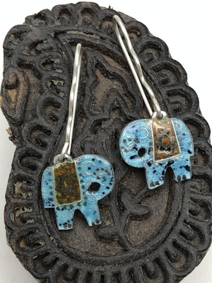Indian Elephant Earrings - Turquoise And Deep Red Enamel On Silver