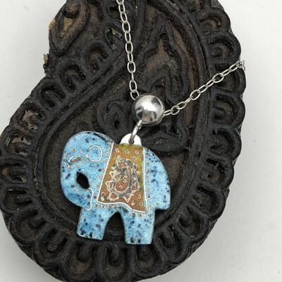 Indian Elephant Pendant -Silver and Blue Turquoise Enamel