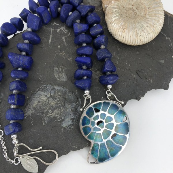 Ammonite Fossil Necklace with Lapis Lazuli and Labradorite Beads