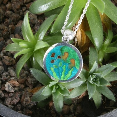 Botanical Gardens small silver and cloisonne enamel pendant