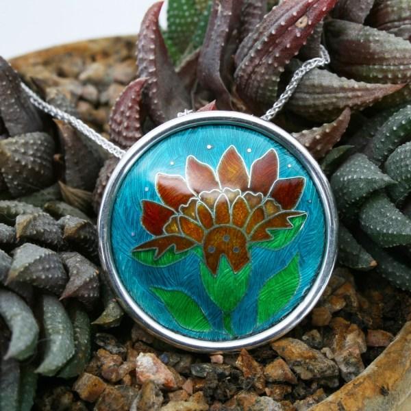 Hothouse Flower Orange red and tawny cloisonne enamel pendant