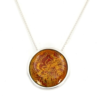 'Indian Memories' silver and enamel pendant - orange and deep red