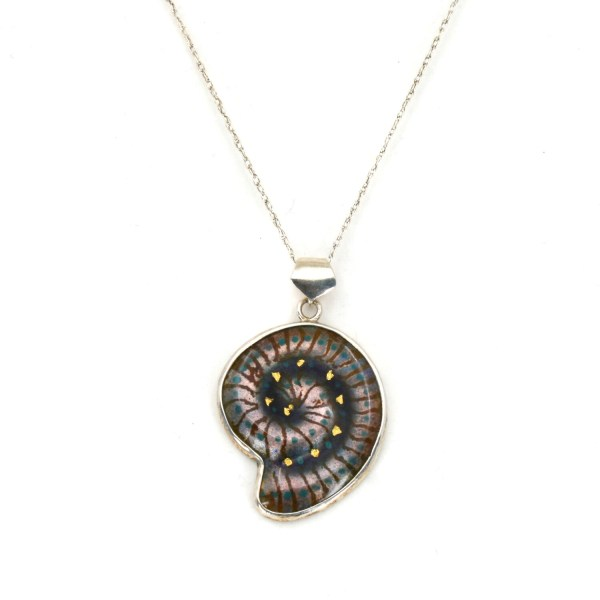 Small Enamel 'Fossil' Pendant - blue-grey and lilac-grey with fine gold foils