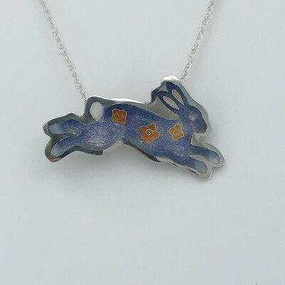Bunny Champlevé And Cloisonné Enamel Necklace - Violet Blue And Rose Pink
