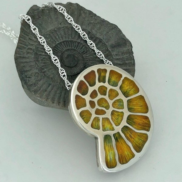 Enamel Fossil Necklace on Silver Rope Chain - Silver And Champlevé
