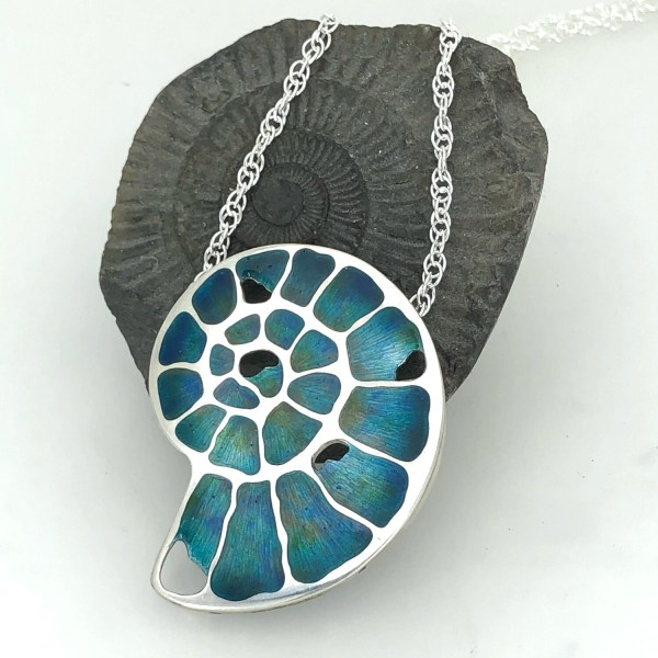 Ammonite Fossil Necklace On A Silver Chain