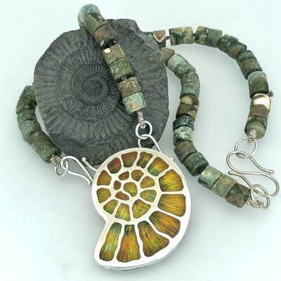 Enamel Fossil Necklace with Rhyolite Beads - Silver And Champlevé Enamel
