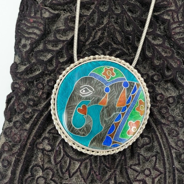 For The Love Of An Elephant - Silver And Cloisonné Enamel Pendant