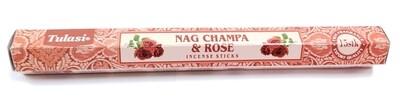 Tulasi: Nagchampa & Rose Stick Incense (1 Unit 15 Sticks)