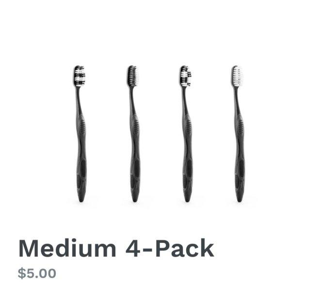 Coral Oral Toothbrushes - Medium 4 Pack