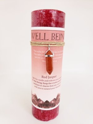 Well Being Candle with Red Jasper Pendant