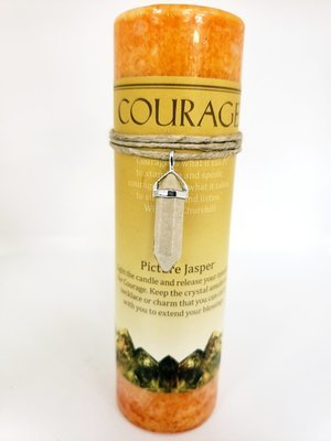 Courage Candle with Picture Jasper Pendant