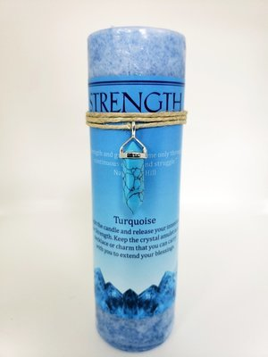 Strength Candle with Turquoise Pendant