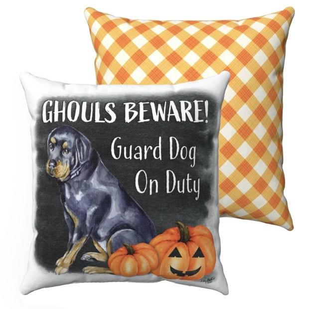 Ghouls Beware Halloween Pillow / Pillowcase - Rottweiler