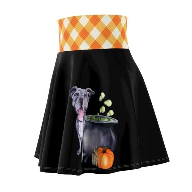 Halloween Pitbull Skater Skirt