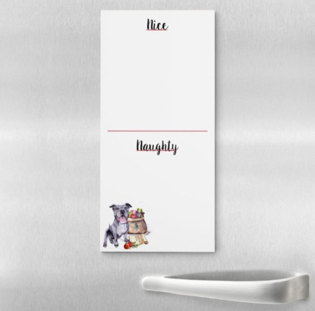 Naughty Or Nice Magnetic Notepad - Pitbull
