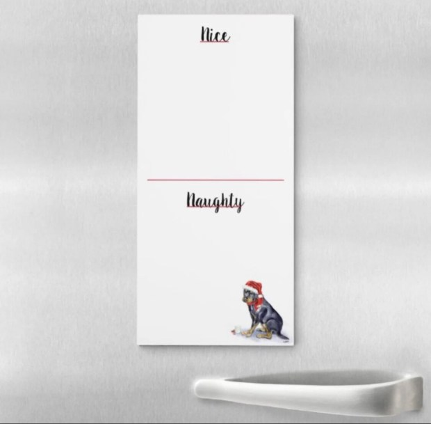 Naughty Or Nice Magnetic Notepad - Rottweiler