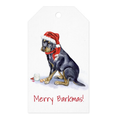 Santa Paws Gift Tags - Rottweiler