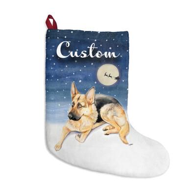 Santa, (Fur)Baby Stocking - German Shepard