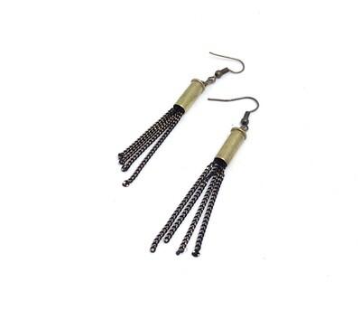 Bullet Casing Brass Chain Earrings