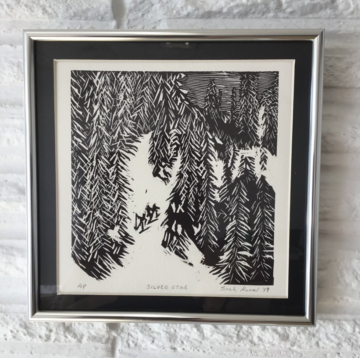 Silver Star (Linoleum Cut Print) by Sarah Konrad